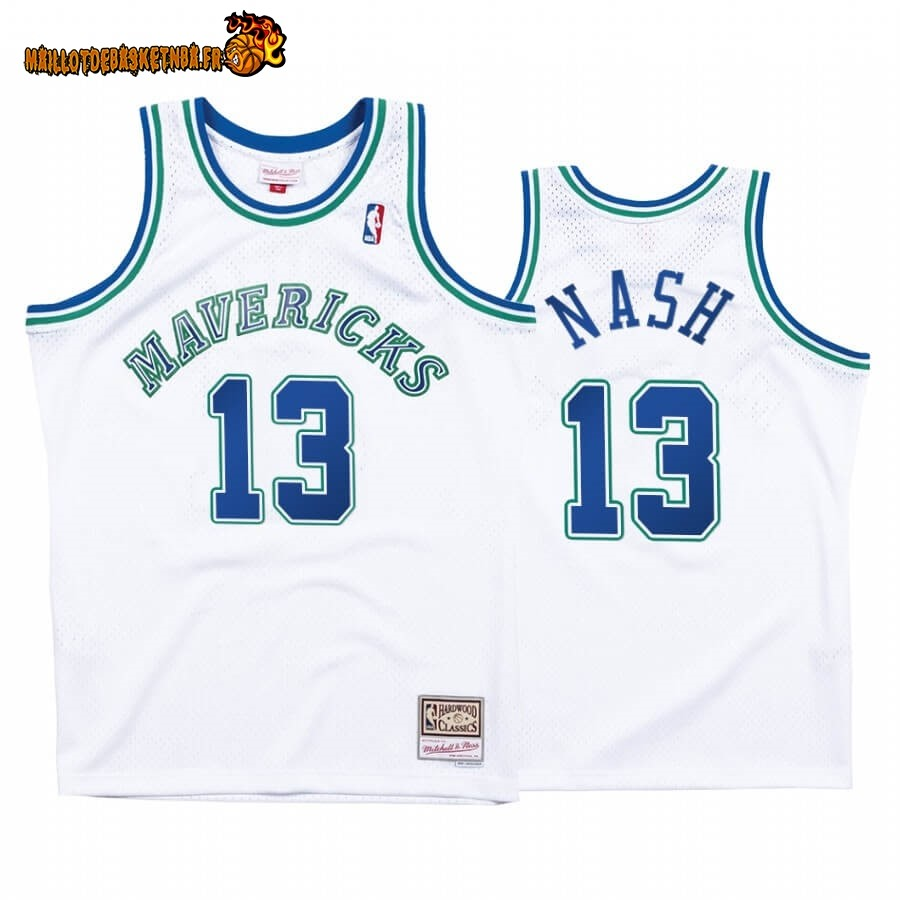 Maillot NBA Dallas Mavericks NO.13# Steve Nash Blanc Hardwood Classics
