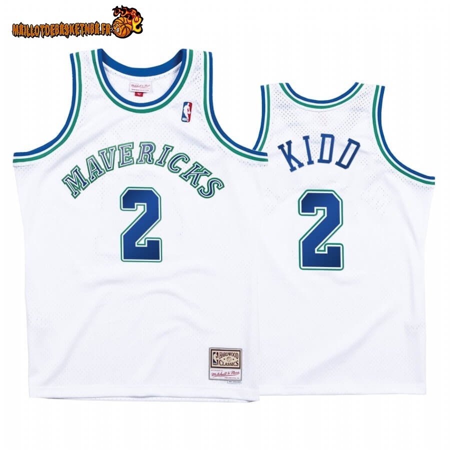 Maillot NBA Dallas Mavericks NO.2# Jason Kidd Blanc Hardwood Classics