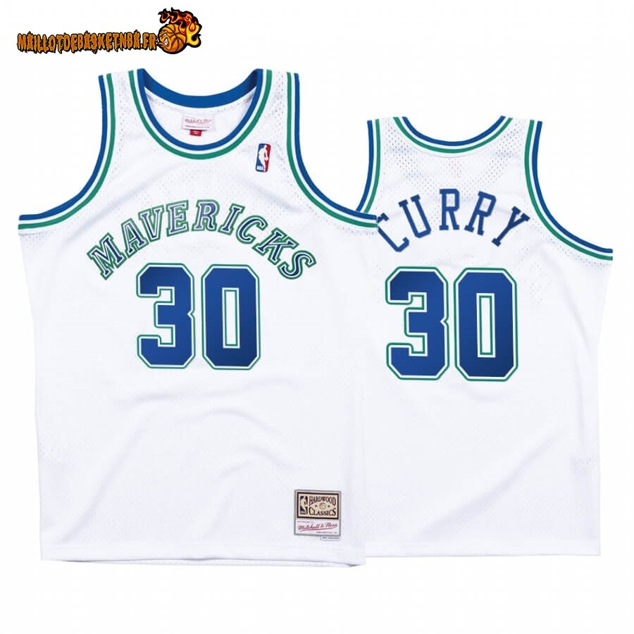 Maillot NBA Dallas Mavericks NO.30# Seth Curry Blanc Hardwood Classics