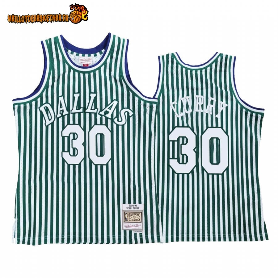 Maillot NBA Dallas Mavericks Striped NO.30# Seth Curry Vert Hardwood Classics