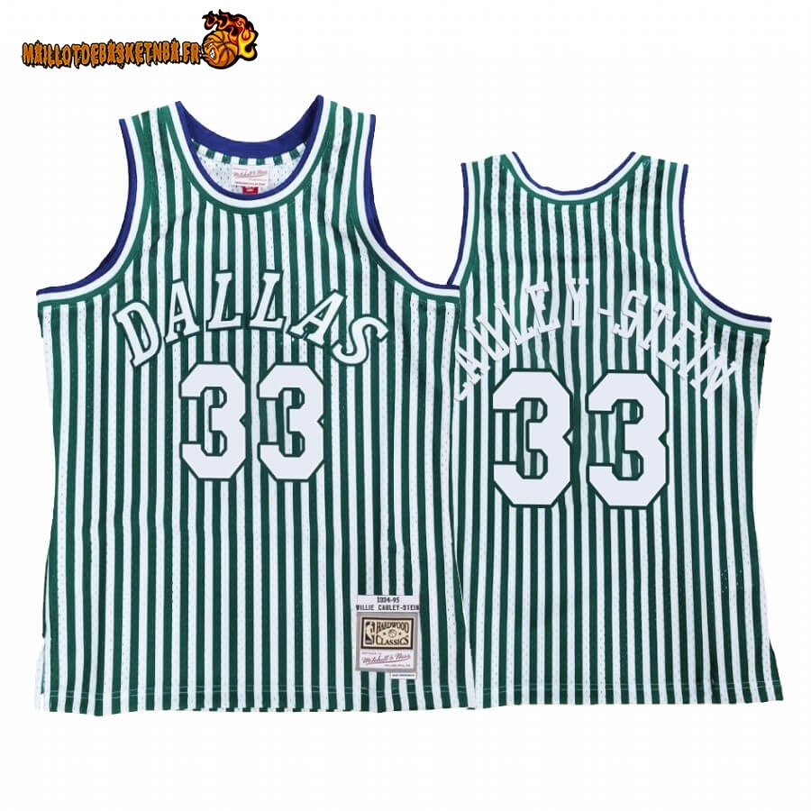 Maillot NBA Dallas Mavericks Striped NO.33# Willie Cauley Stein Vert Hardwood Classics