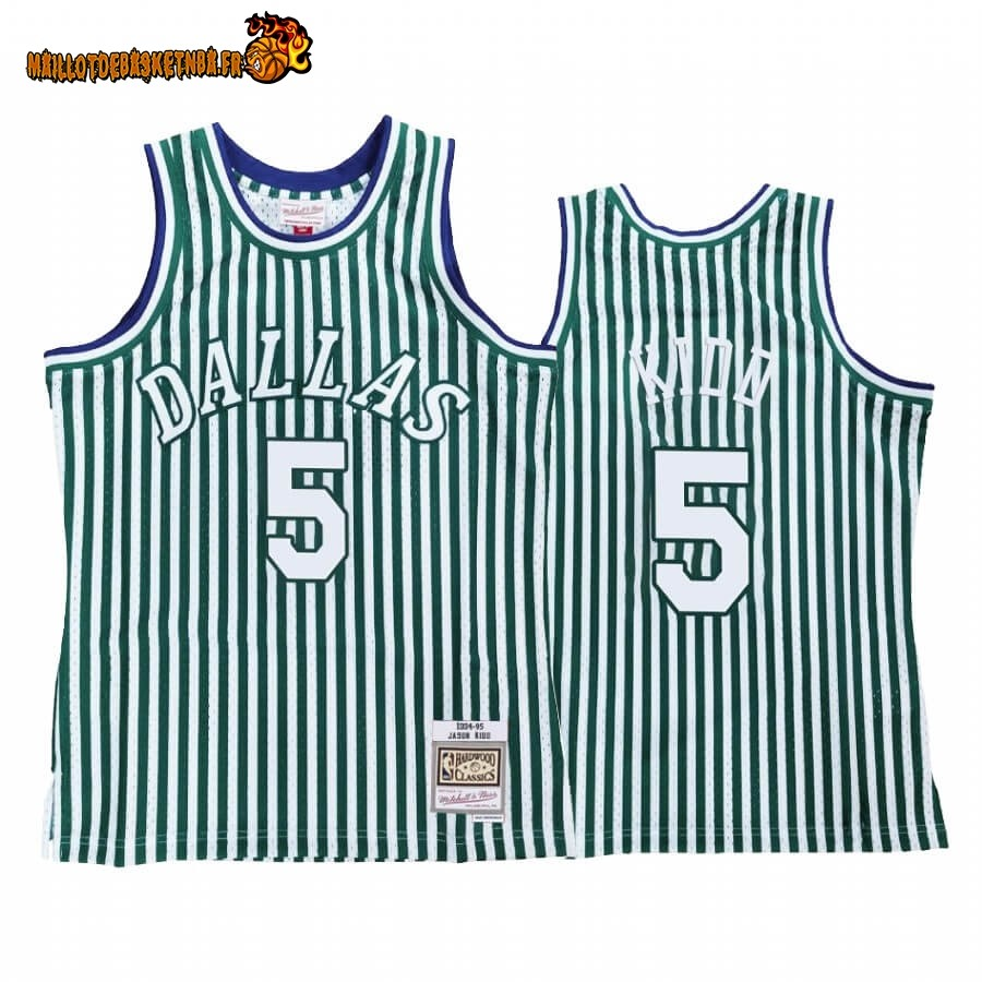 Maillot NBA Dallas Mavericks Striped NO.5# Jason Kidd Vert Hardwood Classics