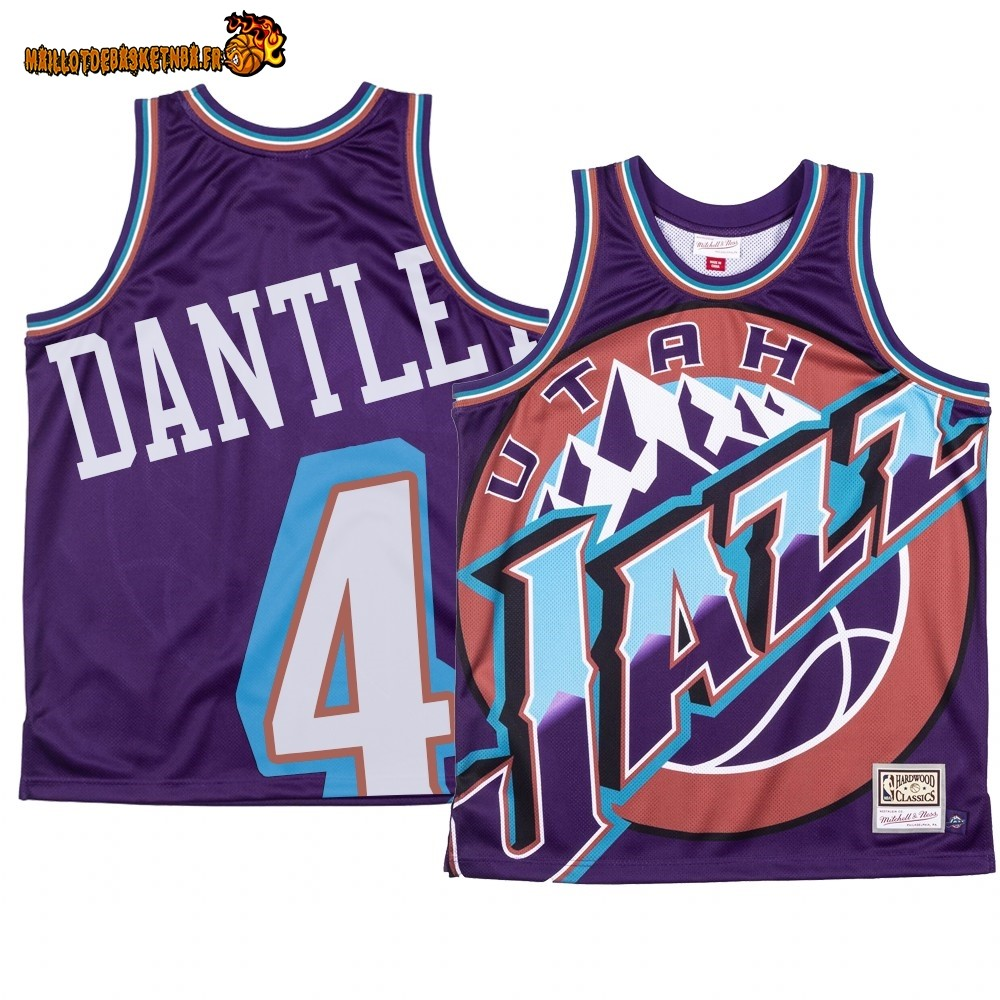 Maillot NBA Utah Jazz Big Face NO.4# Adrian Dantley Pourpre