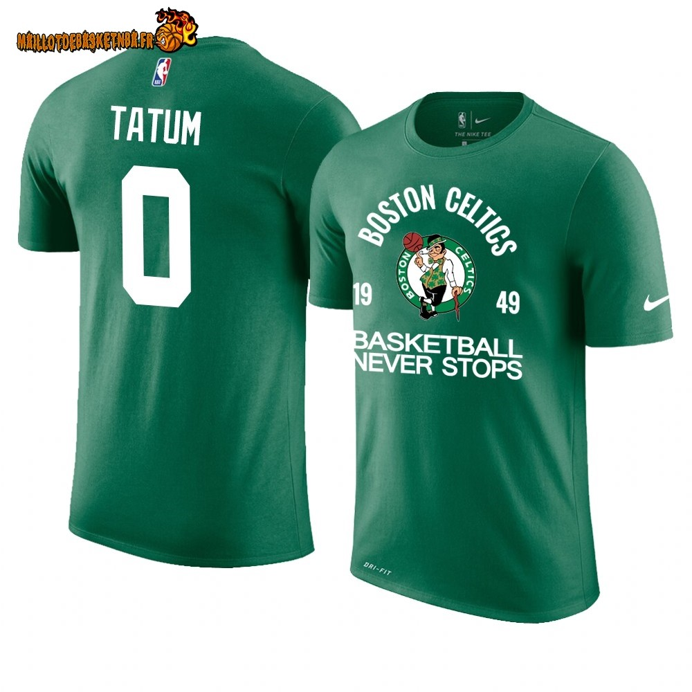T Shirt NBA Boston Celtics Never Stops NO.0# Jayson Tatum Vert