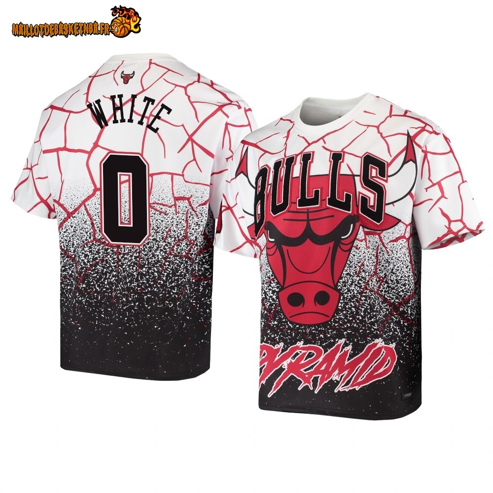 T Shirt NBA Chicago Bulls Pyramid Retro NO.0# Coby White Blanc