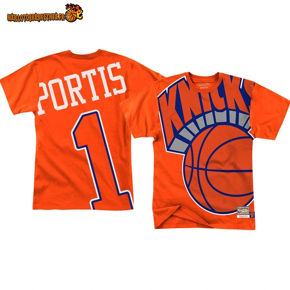 T Shirt NBA New York Knicks Big Face NO.1# Bobby Portis Orange