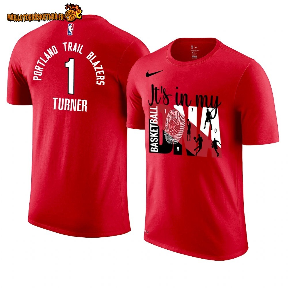 T Shirt NBA Portland Trail Blazers DNA NO.1# Evan Turner Rouge