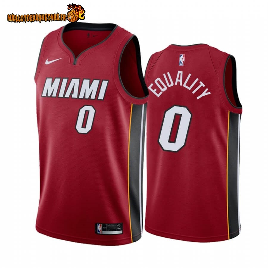 Vente Nouveau Maillot NBA Nike Miami Heat NO.0 Meyers Leonard Equality Rouge Statement 2019-20 Pas Cher