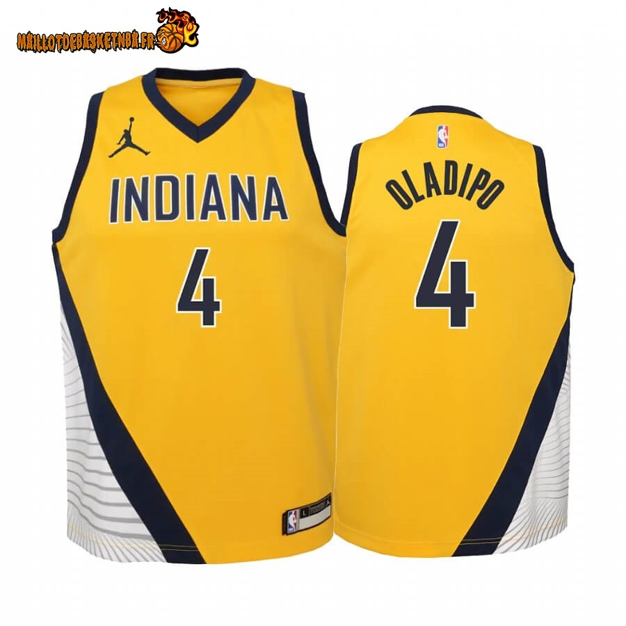 Vente Nouveau Maillot NBA Enfant Indiana Pacers NO.4 Victor Oladipo Or Statement 2020-21 Pas Cher