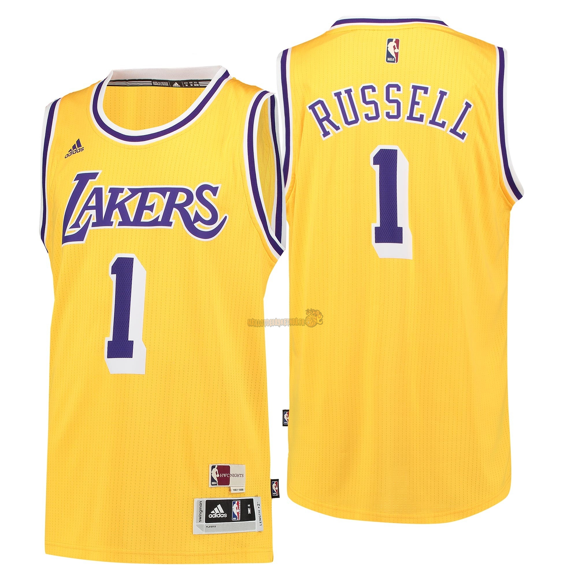 Vente Nouveau Maillot NBA Los Angeles Lakers NO.1 D'Angelo Russell Retro Bleu pas cher