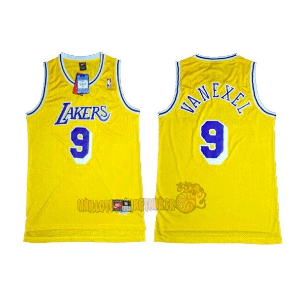Vente Nouveau Maillot NBA Los Angeles Lakers NO.9 Nick Van Exel Jaune pas cher