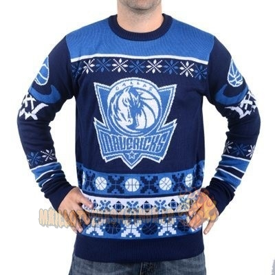 Vente Nouveau Unisex Ugly Sweater Dallas Mavericks Bleu pas cher