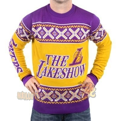 Vente Nouveau Unisex Ugly Sweater Los Angeles Lakers Jaune Pourpre pas cher