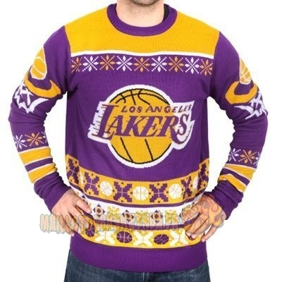 Vente Nouveau Unisex Ugly Sweater Los Angeles Lakers Jaune pas cher