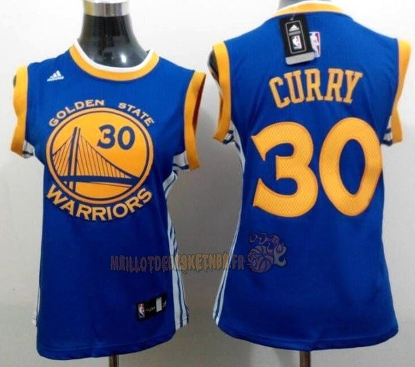 Vente Nouveau Maillot NBA Femme Golden State Warriors NO.30 Stephen Curry Bleu Jaune pas cher