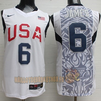 Vente Nouveau Maillot NBA 2008 USA NO.6 James Blanc pas cher