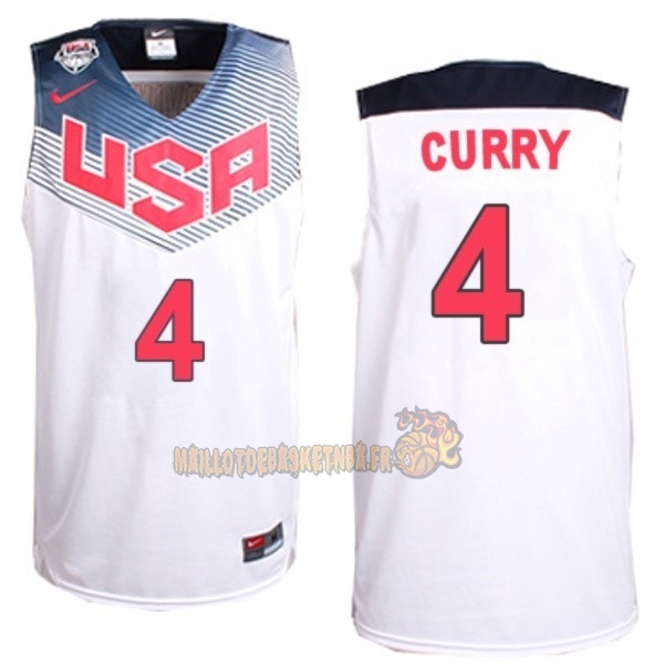 Vente Nouveau Maillot NBA 2014 USA NO.4 Curry Blanc pas cher