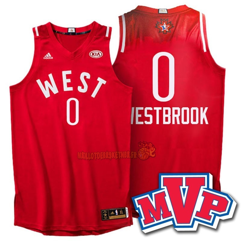 Vente Nouveau Maillot NBA 2016 All Star NO.0 Russell Westbrook Rouge pas cher