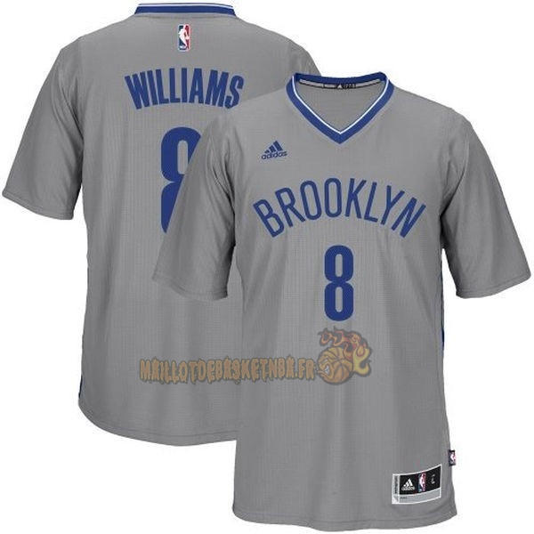 Vente Nouveau Maillot NBA Brooklyn Nets Manche Courte No.8 Deron Michael Williams Gris pas cher