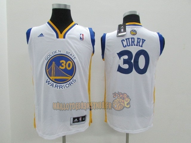 Vente Nouveau Maillot NBA Enfant Golden State Warriors NO.30 Stephen Curry Blanc pas cher