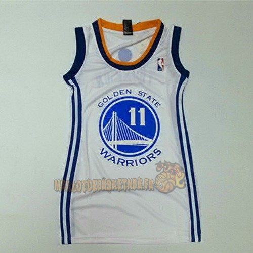 Vente Nouveau Maillot NBA Femme Golden State Warriors NO.11 Klay Thompson Blanc pas cher