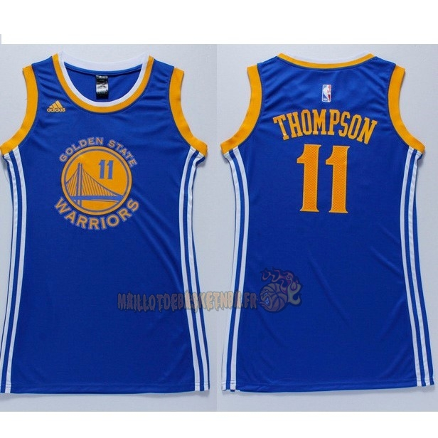Vente Nouveau Maillot NBA Femme Golden State Warriors NO.11 Klay Thompson Bleu pas cher