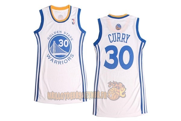 Vente Nouveau Maillot NBA Femme Golden State Warriors NO.30 Stephen Curry Blanc pas cher