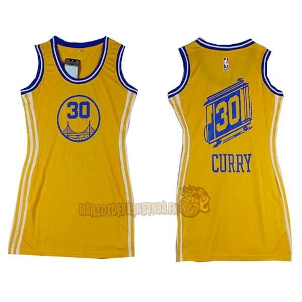 Vente Nouveau Maillot NBA Femme Golden State Warriors NO.30 Stephen Curry Jaune pas cher