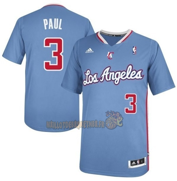 Vente Nouveau Maillot NBA Los Angeles Clippers Manche Courte NO.3 Chris Paul Bleu pas cher