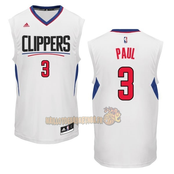 Vente Nouveau Maillot NBA Los Angeles Clippers NO.3 Chris Paul Blanc pas cher