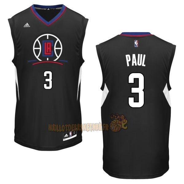 Vente Nouveau Maillot NBA Los Angeles Clippers NO.3 Chris Paul Noir pas cher