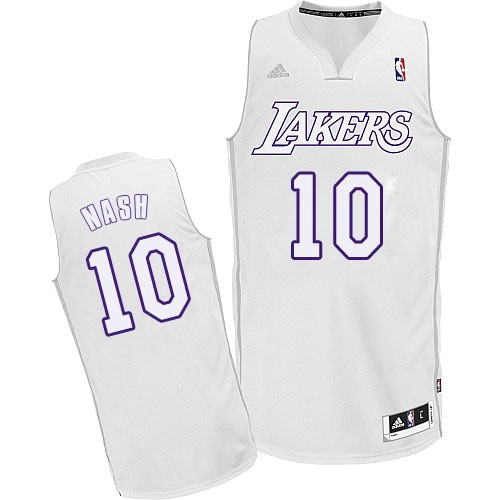 Vente Nouveau Maillot NBA Los Angeles Lakers 2012 Noël NO.10 Nash Blanc pas cher