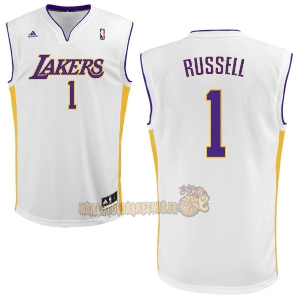 Vente Nouveau Maillot NBA Los Angeles Lakers NO.1 D'Angelo Russell Blanc pas cher