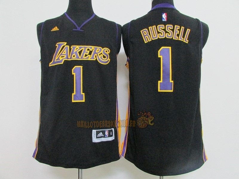 Vente Nouveau Maillot NBA Los Angeles Lakers NO.1 D'Angelo Russell Noir pas cher