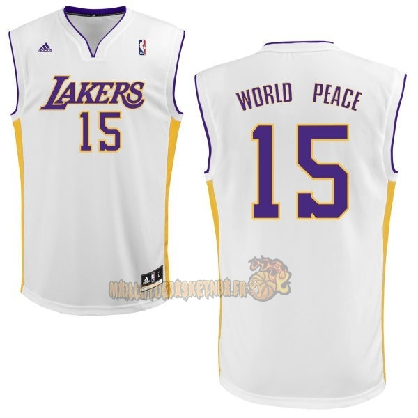 Vente Nouveau Maillot NBA Los Angeles Lakers NO.15 Metta World Peace Blanc pas cher
