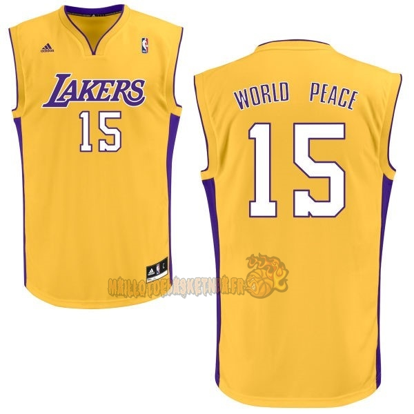 Vente Nouveau Maillot NBA Los Angeles Lakers NO.15 Metta World Peace Jaune pas cher