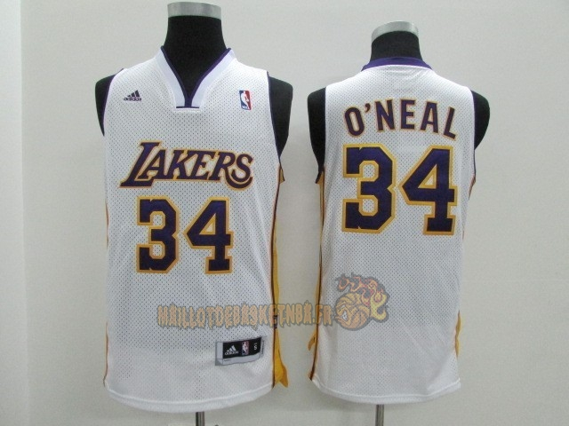 Vente Nouveau Maillot NBA Los Angeles Lakers NO.34 Shaquille O'Neal Blanc pas cher