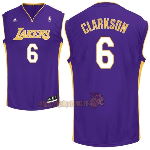 Vente Nouveau Maillot NBA Los Angeles Lakers NO.6 Jordan Clarkson Pourpre pas cher