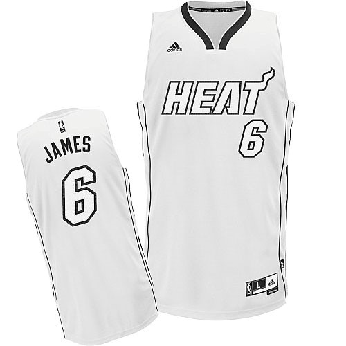 Vente Nouveau Maillot NBA Miami Heat 2012 Noël NO.6 James Blanc pas cher