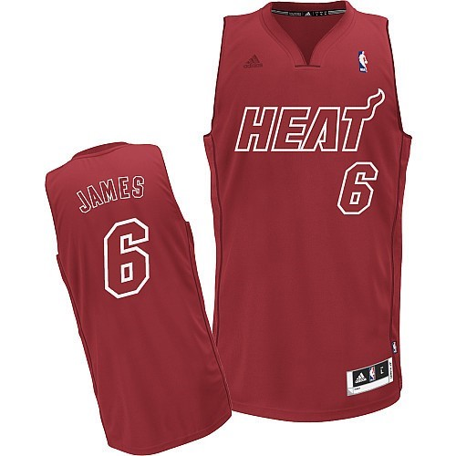 Vente Nouveau Maillot NBA Miami Heat 2012 Noël NO.6 James Rouge pas cher