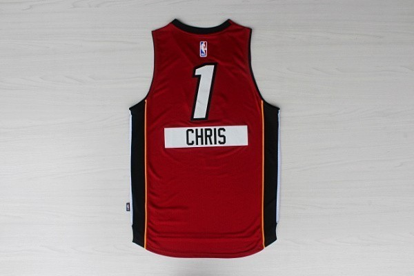 Vente Nouveau Maillot NBA Miami Heat 2014 Noël NO.1 Chris Rouge pas cher