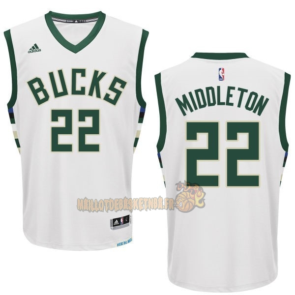 Vente Nouveau Maillot NBA Milwaukee Bucks NO.22 Khris Middleton Blanc pas cher