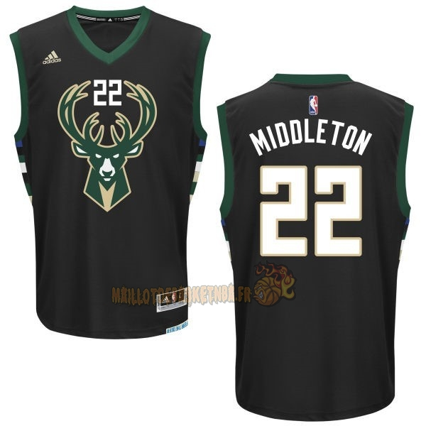 Vente Nouveau Maillot NBA Milwaukee Bucks NO.22 Khris Middleton Noir pas cher