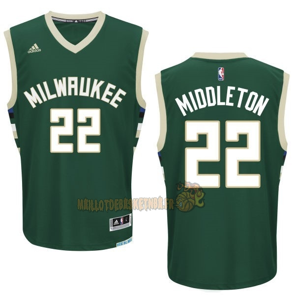 Vente Nouveau Maillot NBA Milwaukee Bucks NO.22 Khris Middleton Vert pas cher