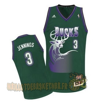 Vente Nouveau Maillot NBA Milwaukee Bucks NO.3 Brandon Jennings Vert pas cher