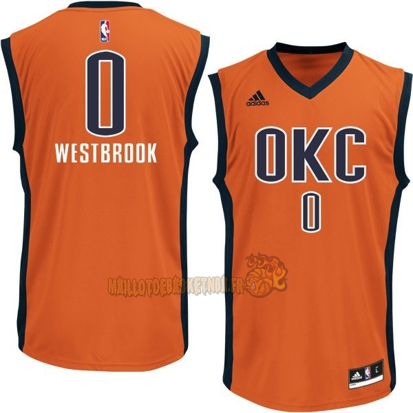 Vente Nouveau Maillot NBA Oklahoma City Thunder NO.0 Russell Westbrook Orange pas cher