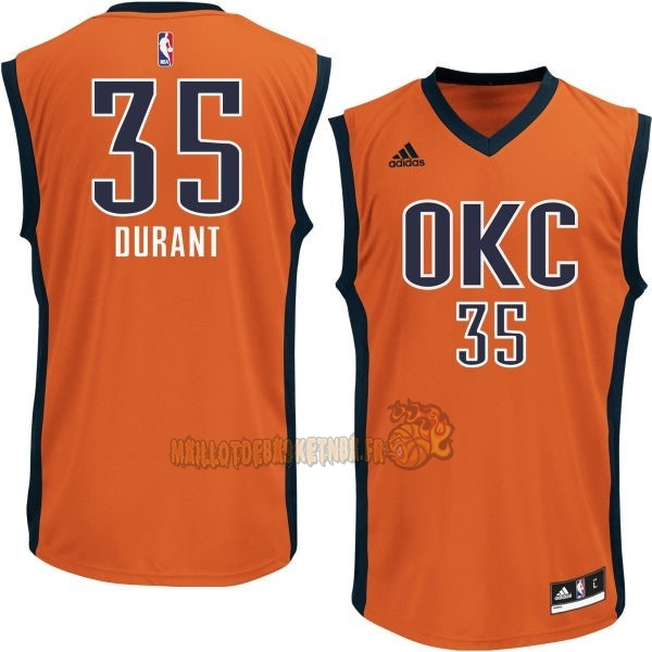 Vente Nouveau Maillot NBA Oklahoma City Thunder NO.35 Kevin Durant Orange pas cher