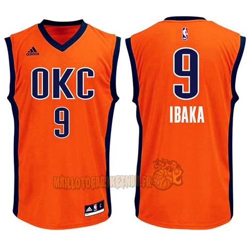 Vente Nouveau Maillot NBA Oklahoma City Thunder NO.9 Serge Ibaka Orange pas cher