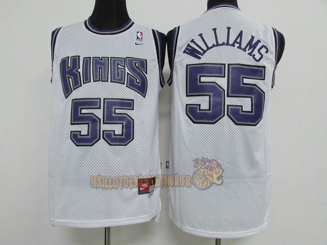 Vente Nouveau Maillot NBA Sacramento Kings NO.55 Jason Williams Blanc pas cher