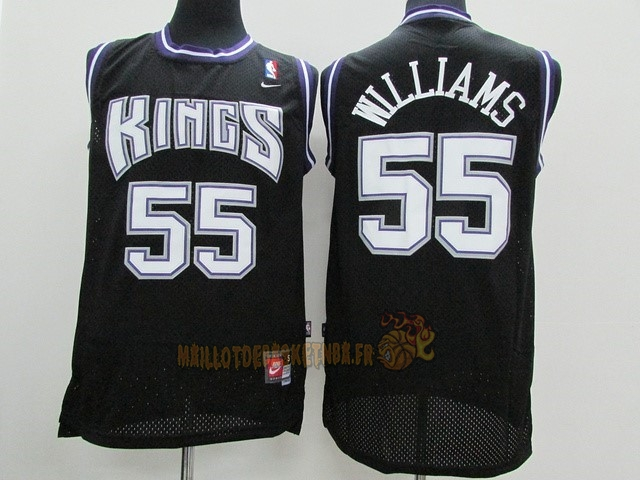 Vente Nouveau Maillot NBA Sacramento Kings NO.55 Jason Williams Noir pas cher